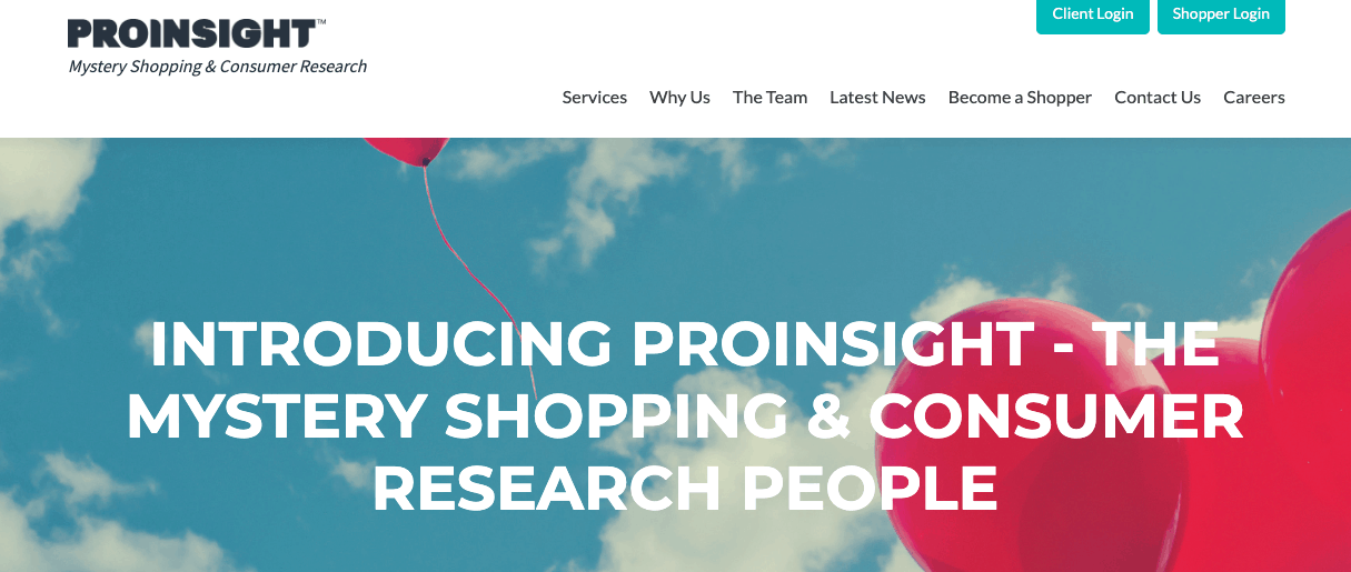 Proinsight mystery shopper and consumer research