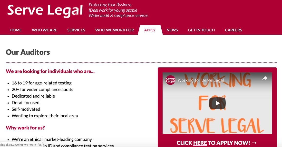Serve legal mystery shopping jobs