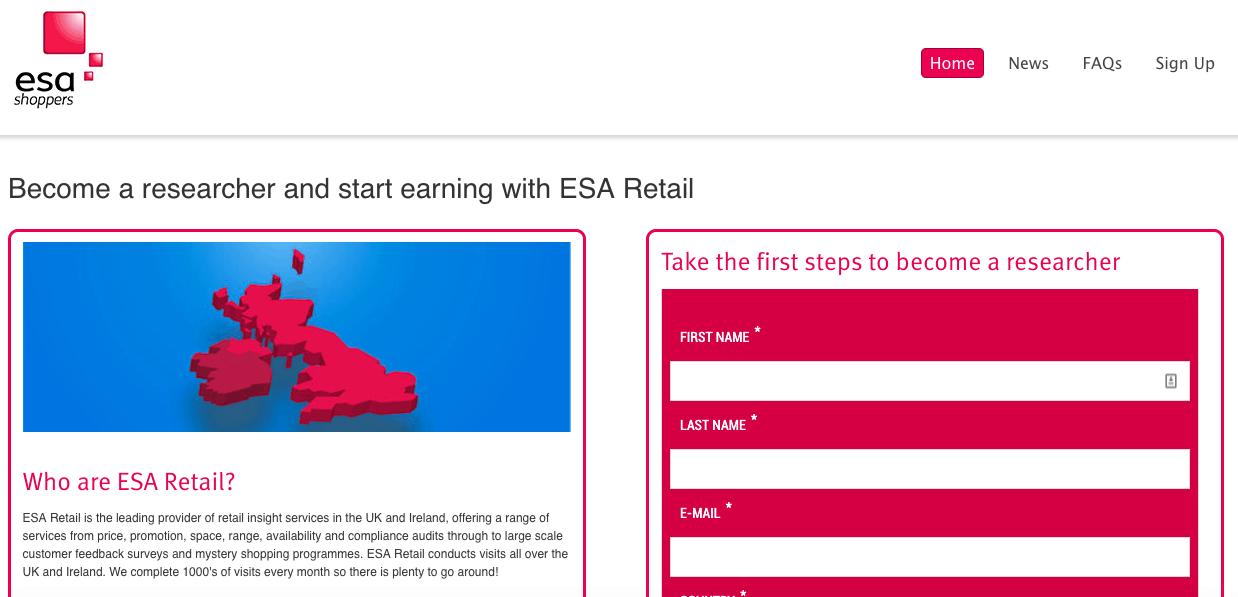 ESA Retail mystery shopping company