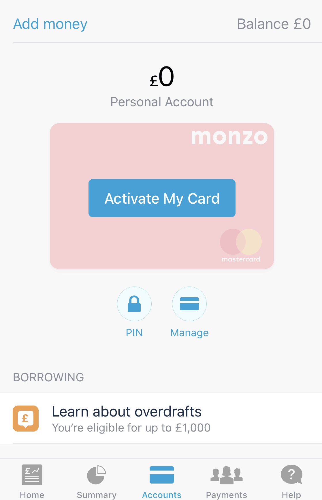 Monzo activate card